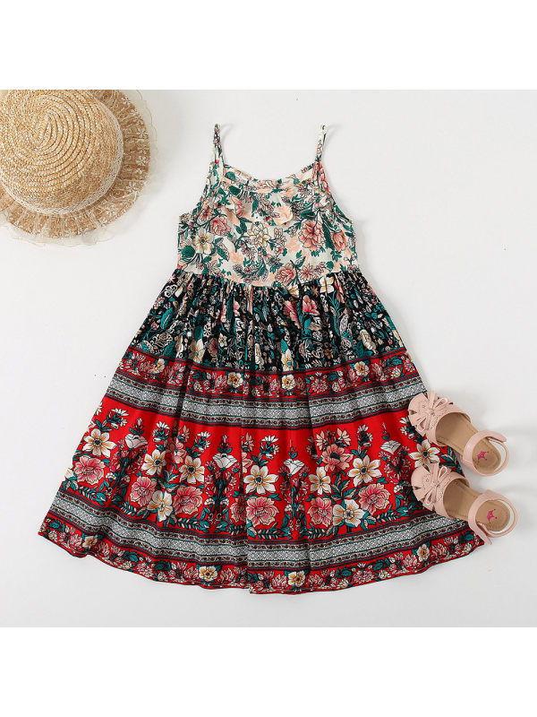 【18M-7Y】Girls Retro Flower Full Print Shoestring Strap Dress