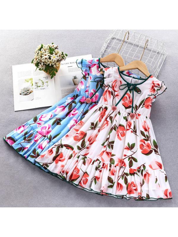 【3Y-11Y】Girls Sweet Bow Lace Flower Full Print Sleeveless Dress
