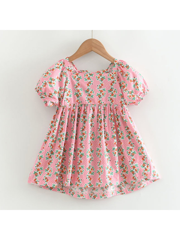 【18M-7Y】Girls Sweet Pink Floral Puff Sleeve Dress