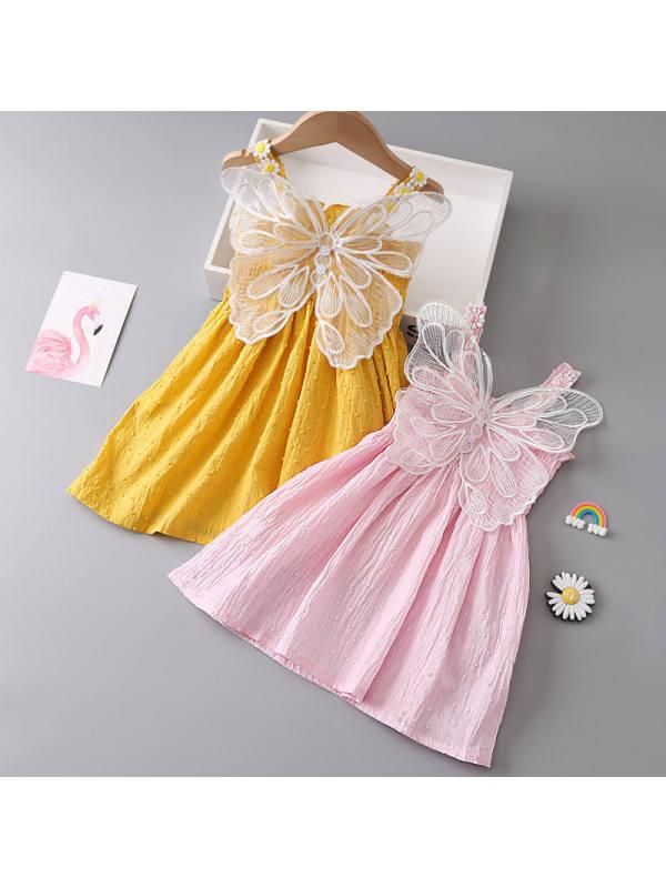 【6M-7Y】Girls Sweet Cute Back Butterfly Camisole Dress - 3384