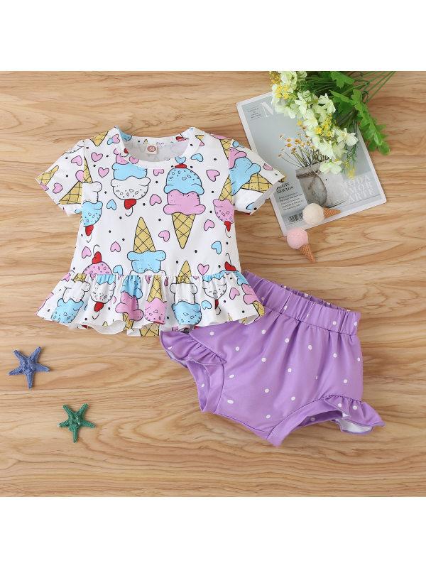 【3M-24M】Baby Girl Cute Cartoon Print Short Sleeve Top and Shorts Set