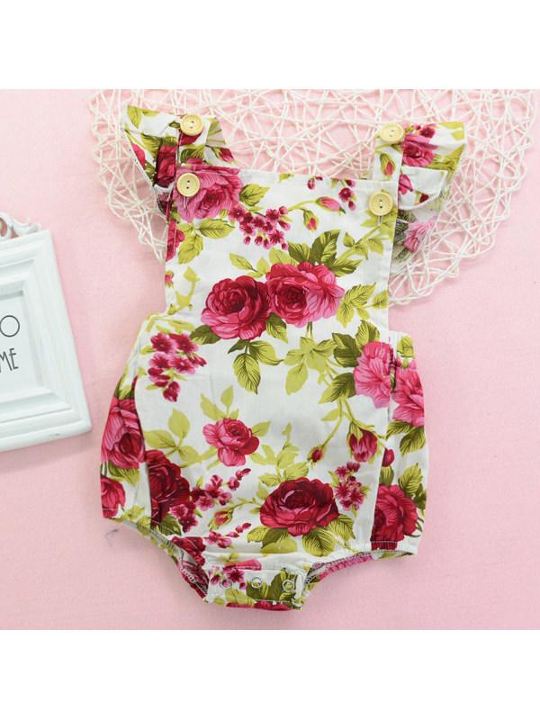 【9M-3Y】Sweet Red Flower Print Sleeveless Romper