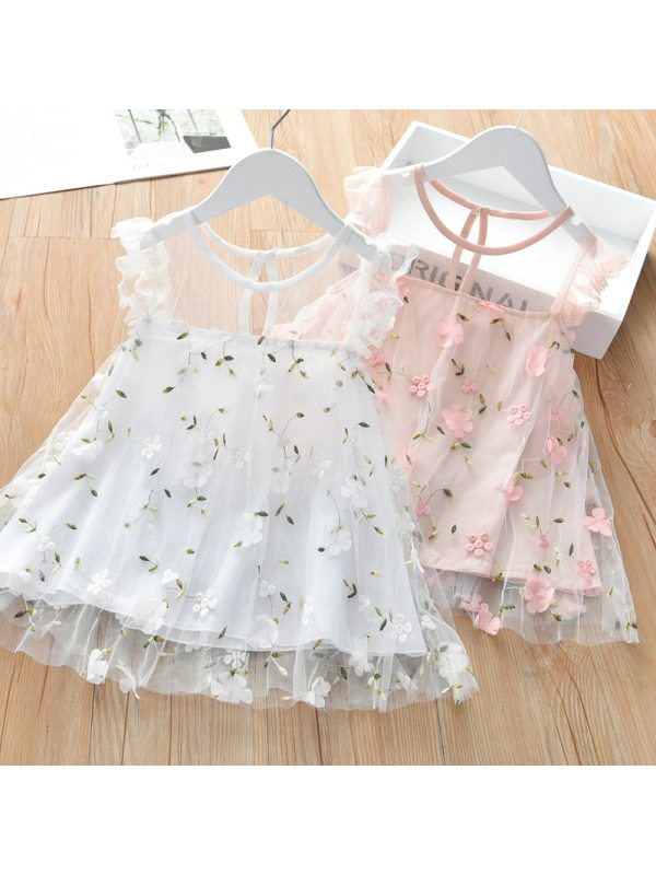 【18M-7Y】Sweet Floral Embroidery Round Neck Sleeveless Mesh Dress - 3368