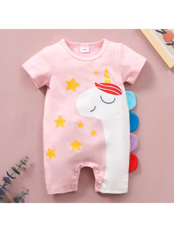 【6M-4Y】Cute Cartoon Unicorn Print Round Neck Short Sleeve Romper