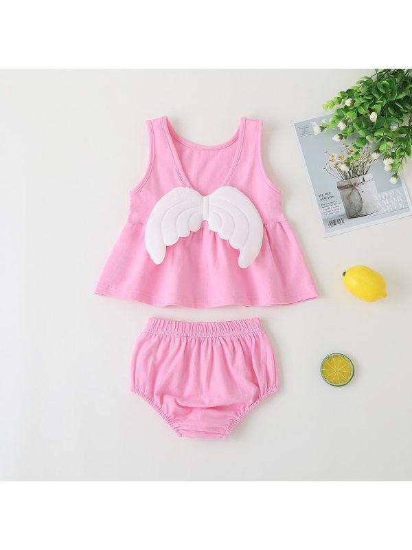 【6M-3Y】Girls Cute Wings Sleeveless Vest Top Shorts Set