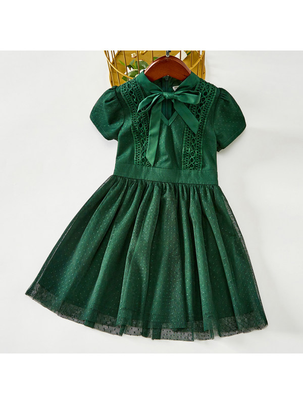 【18M-7Y】Girls Sweet Green Polka Dot Mesh Short Sleeve Dress