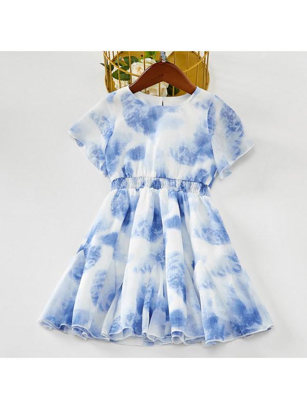 【18M-7Y】Girls Sweet Blue Tie Dye Chiffon Short Sleeve Dress