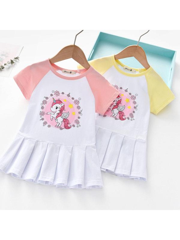 【18M-7Y】Girls Sweet Unicorn Pattern Short Sleeve Dress