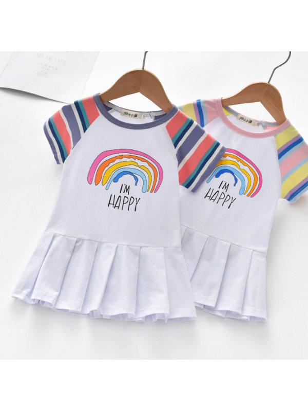 【18M-7Y】Girls Sweet Rainbow Pattern Short Sleeve Dress