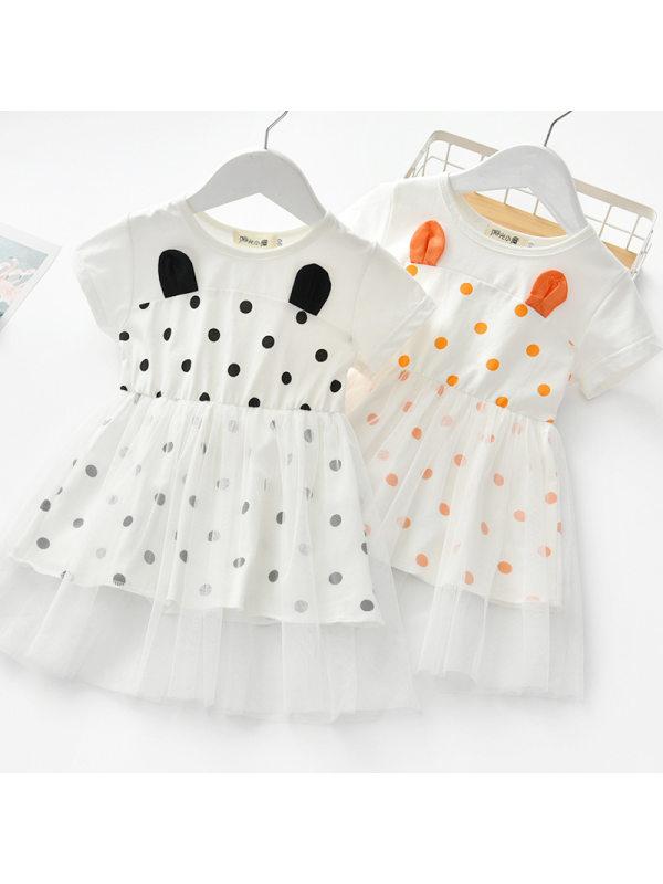 【18M-7Y】Girls Sweet Polka Dot Mesh Short Sleeve Dress