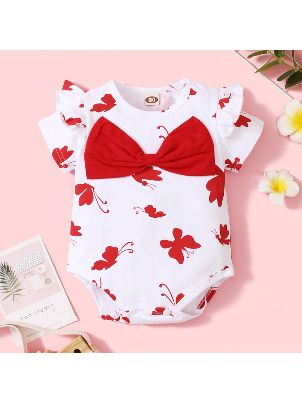 【6M-3Y】Cute Butterfly Print Round Neck Short Sleeve Bow Romper