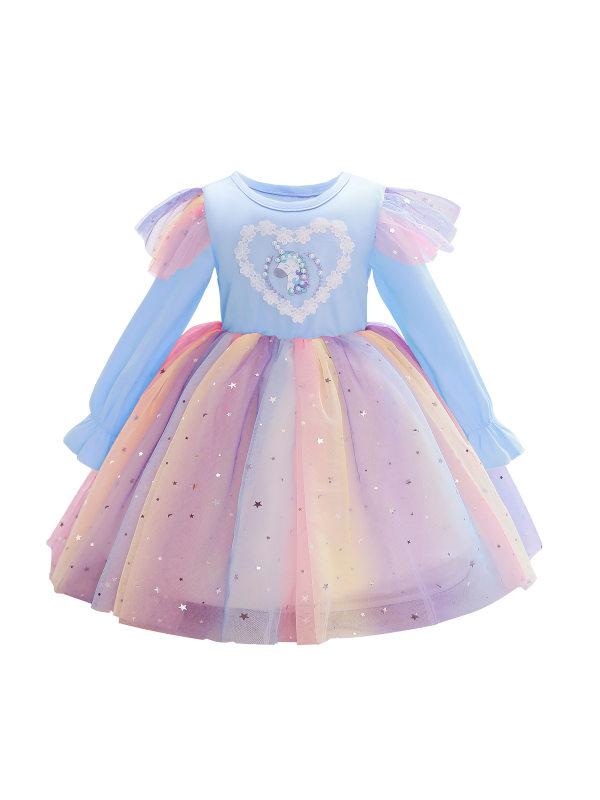 【2Y-11Y】Sweet Cartoon Embroidery Color Mesh Dress