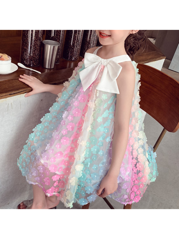【18M-7Y】Girl Sweet Color Three-dimensional Flower Sleeveless Dress