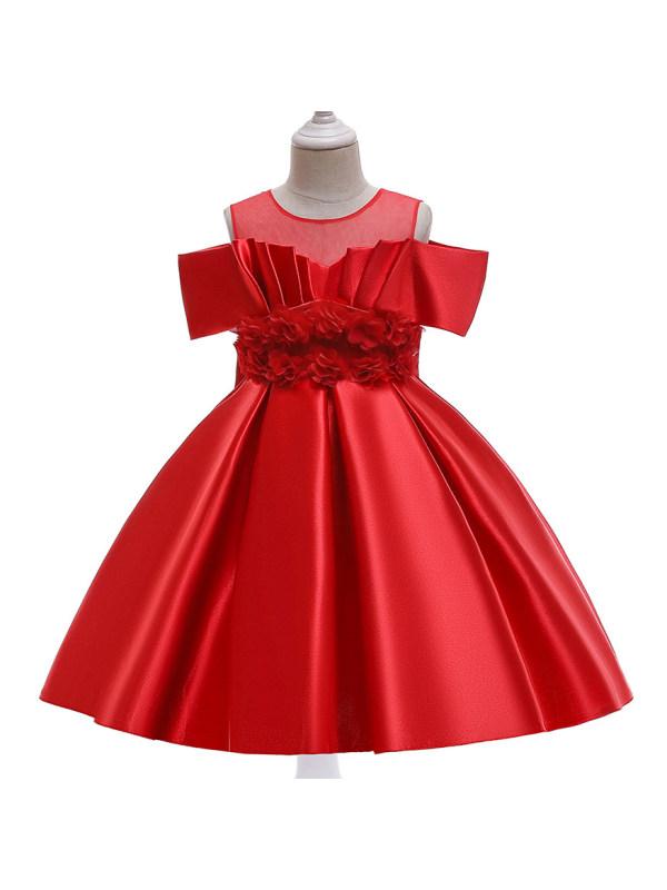 【3Y-11Y】Sweet Flowers Off The Shoulder Princess Dress