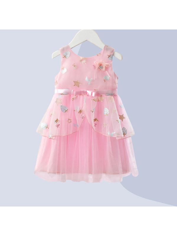 【2Y-7Y】Girls Fresh Sweet Embroidery Mesh Stitching Dress