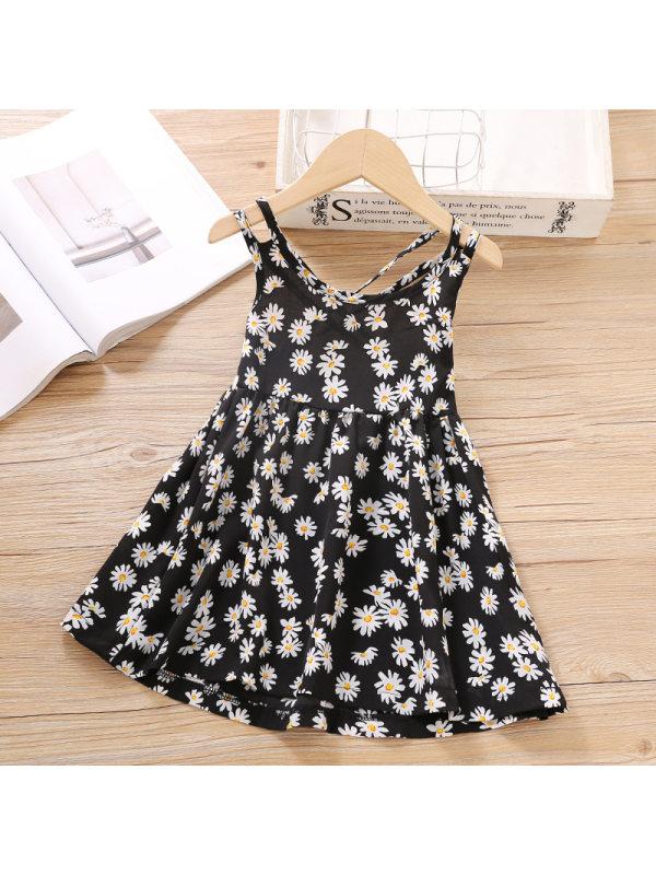 【18M-7Y】Girls Sweet Black Flower Sling Dress