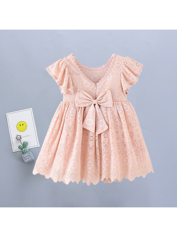 【3Y-11Y】Girls Sweet Lace Bare-back Bow Short Sleeve Dress