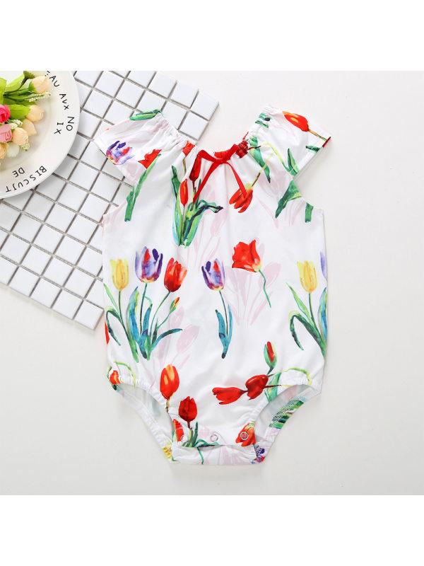 【9M-3Y】Baby Girl Sweet Cute Tulip Print Sleeveless Romper