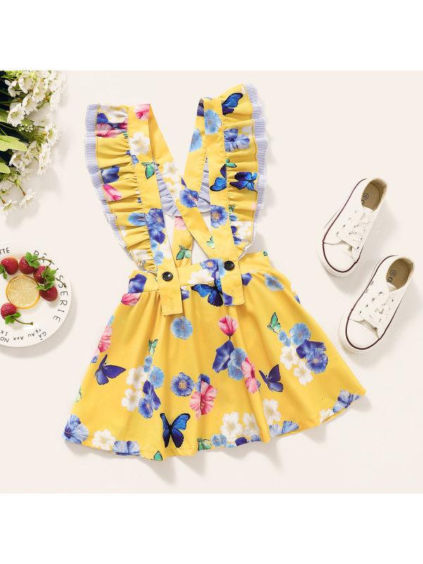 【18M-7Y】Girls Sweet Cute Butterfly Flower Print Suspender Skirt