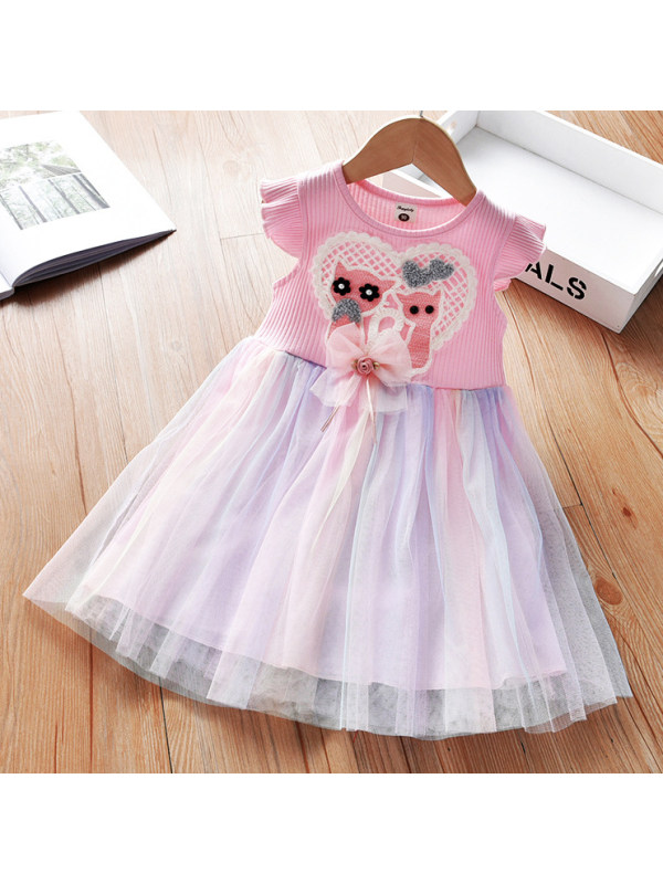 【18M-9Y】Cartoon Embroidered Pink Mesh Dress
