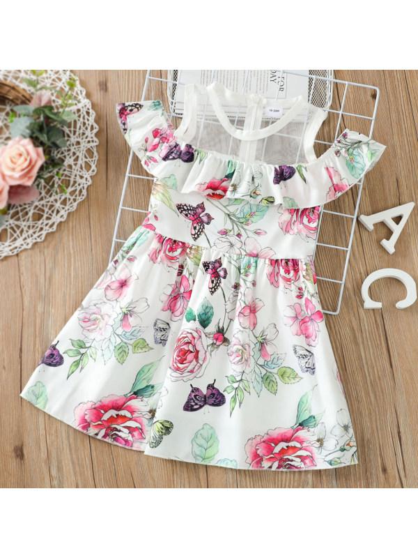【18M-7Y】Sweet Floral Print Round Neck Short Sleeve Dress