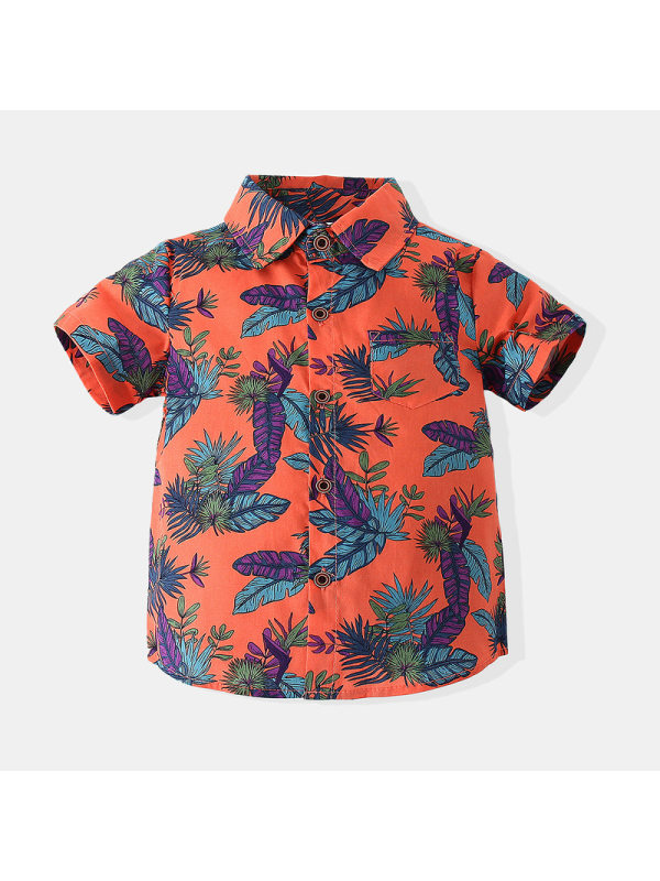 【6M-3Y】Boys Leaf Print Short-sleeved Shirt