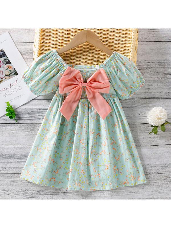 【18M-7Y】Sweet Bow Flower Print Puff Sleeve Dress