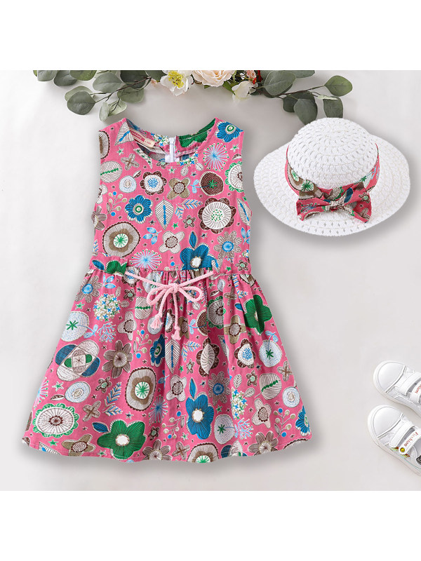 【18M-7Y】Sweet Print Round Neck Sleeveless Dress With Hat