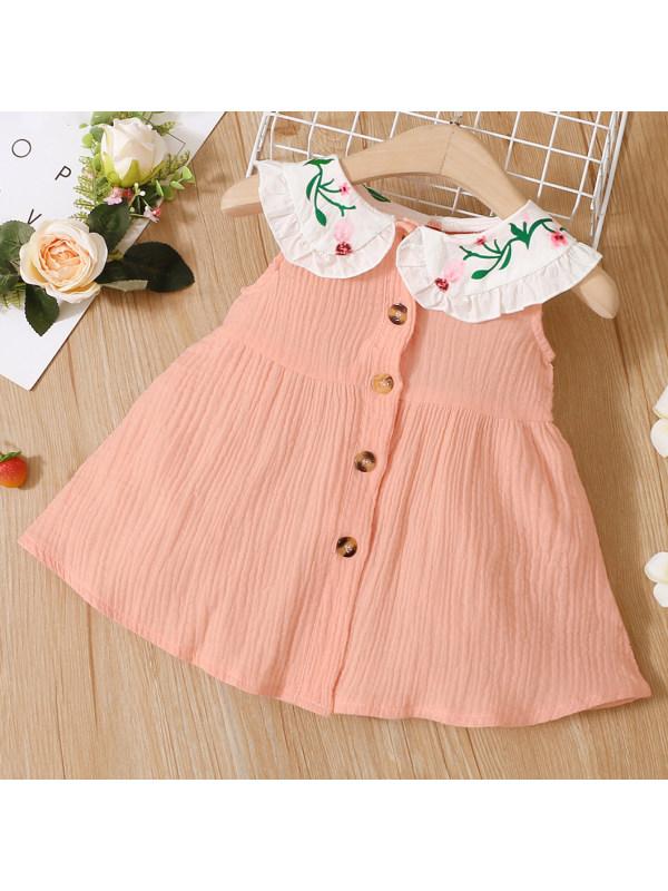 【3M-24M】Cute Floral Collar Pink Sleeveless Dress