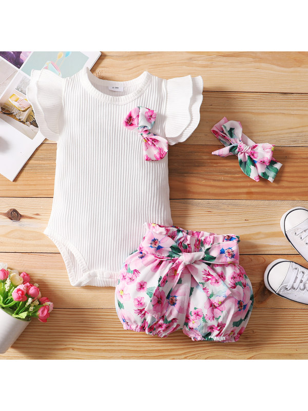 【0M-24M】Cute White Romper and Pink Flower Shorts Set