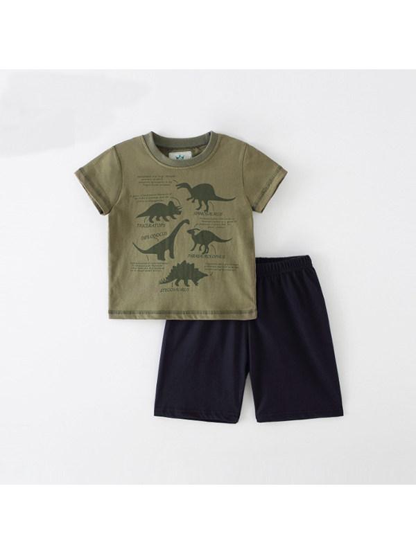 【18M-9Y】Boy's Dinosaur Print Short Sleeve Two-piece Suit