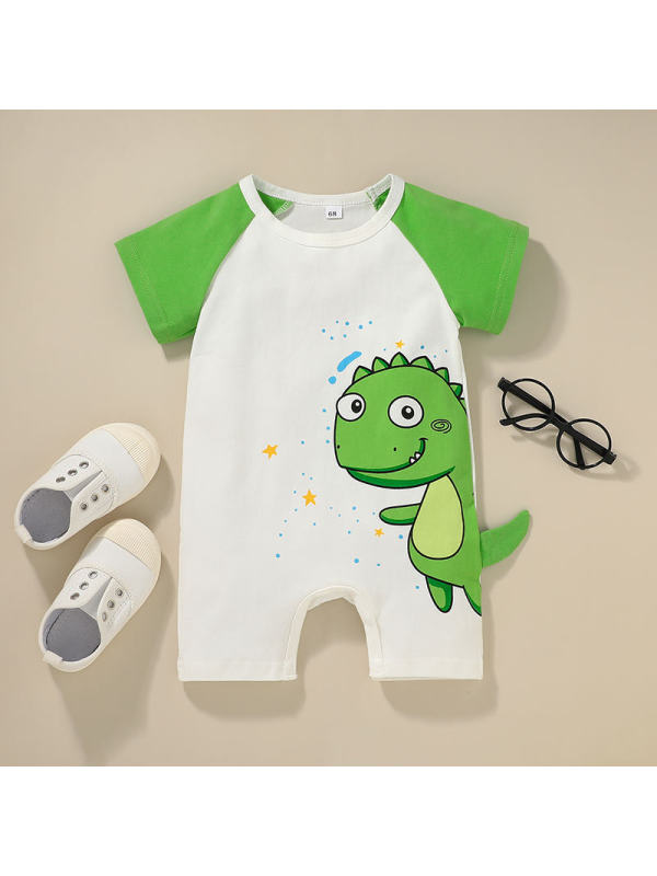 【6M-3Y】Baby Short-sleeved Dinosaur Print Jumpsuit