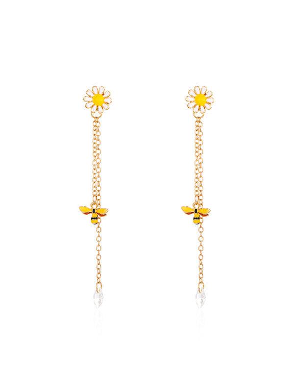 New chrysanthemum bee earrings long tassel earrings female