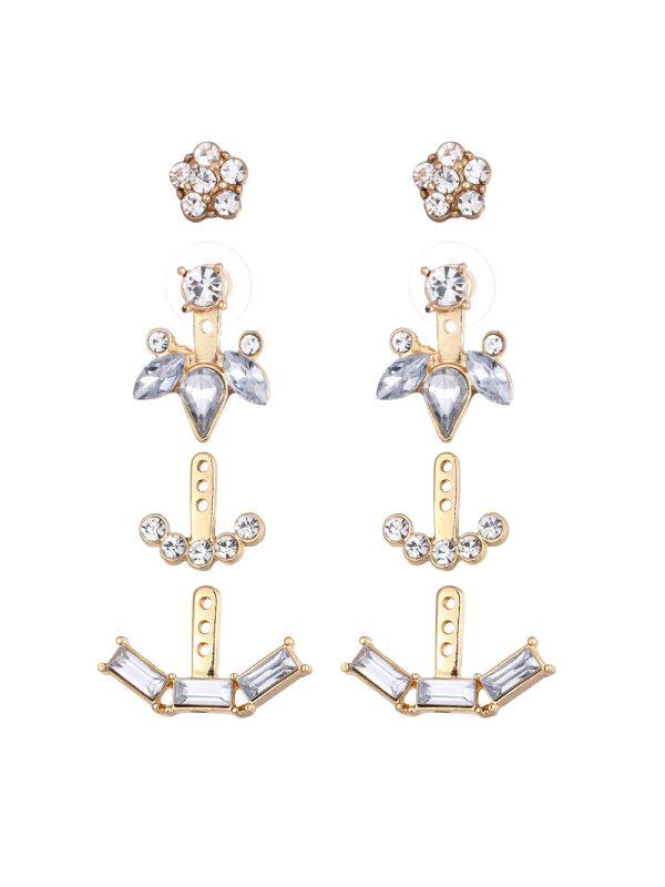 A variety of geometric zircon stud earrings set