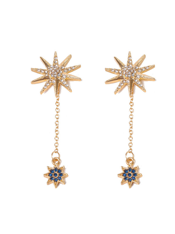 New simple and fashionable ladies earrings with diamond sun