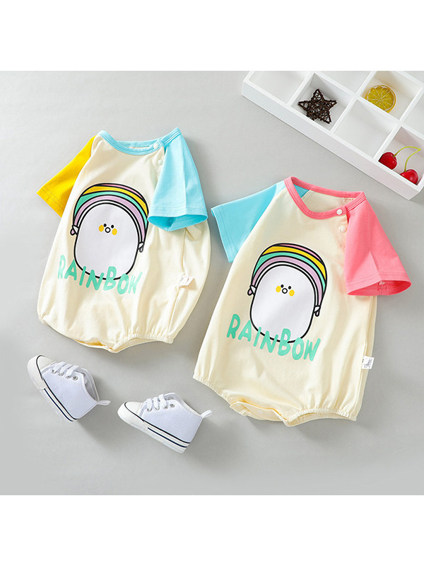 【3M-24M】Baby Cute Penguin Alphabet Print Triangle Jumpsuit