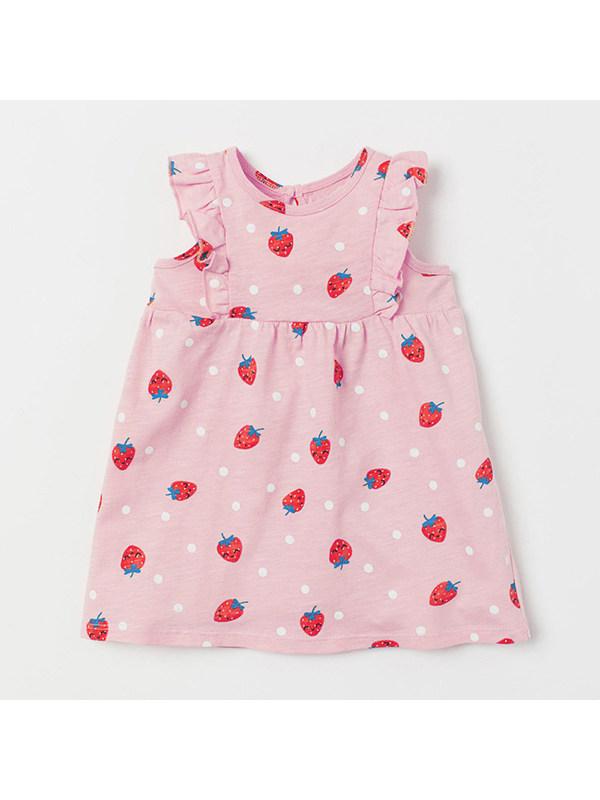 【18M-9Y】Girls' Round Neck Sleeveless Vest Strawberry Print Dress