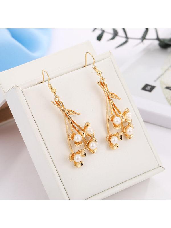 New branch flower pearl earrings earrings earrings