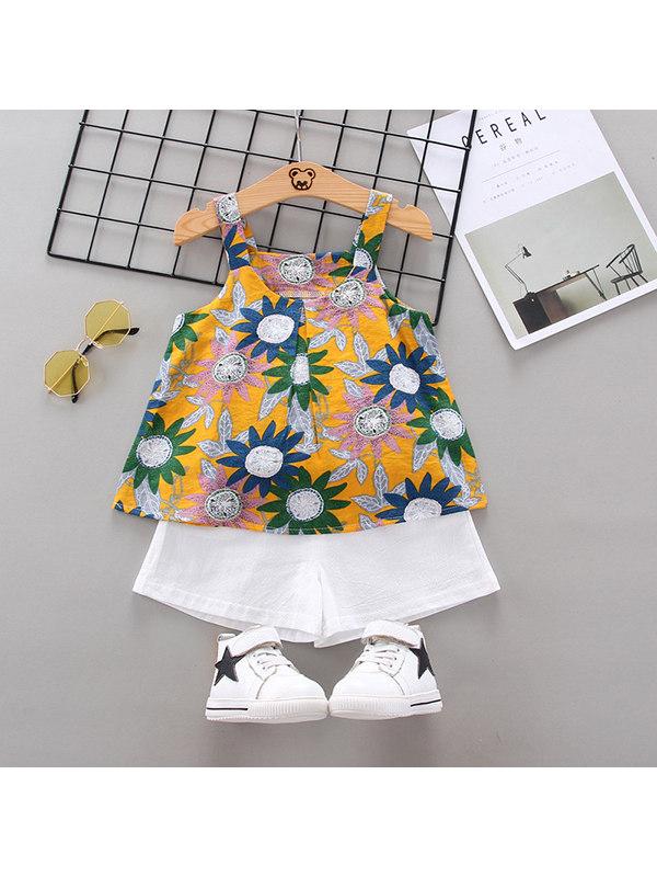【12M-4Y】Girls Sweet Sleeveless Vest Floral Shorts Set