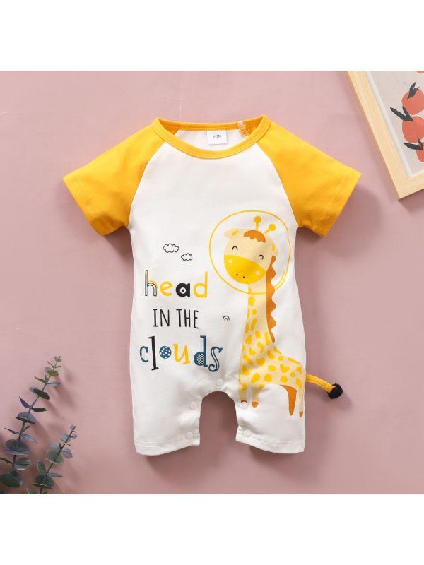 【6M-4Y】Baby Cartoon Print Contrast Stitching Bodysuit
