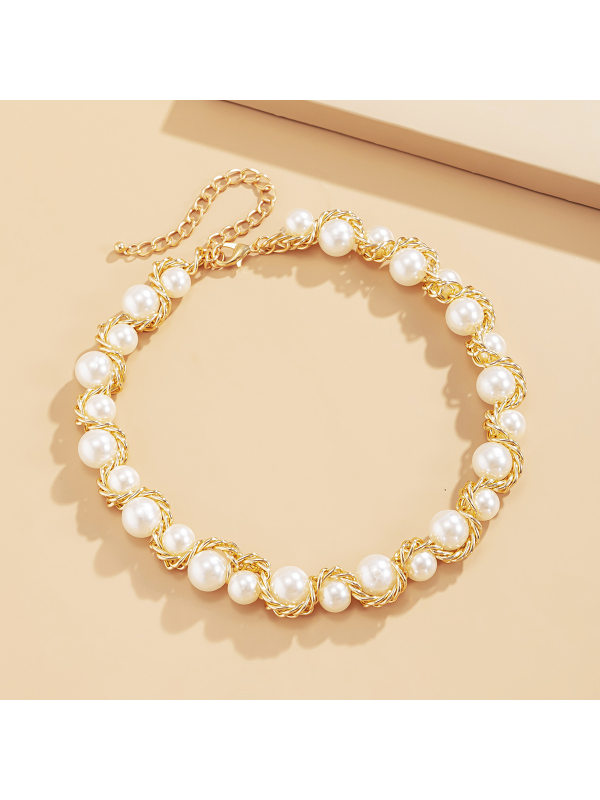 Chain Imitation Pearl Necklace Metal Twist Chain Necklace