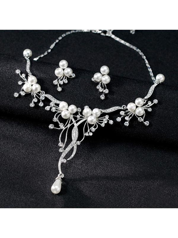 Fashion Rhinestone Wedding Matching Necklace and Earrings Two-piece Set Bridal Necklace Set