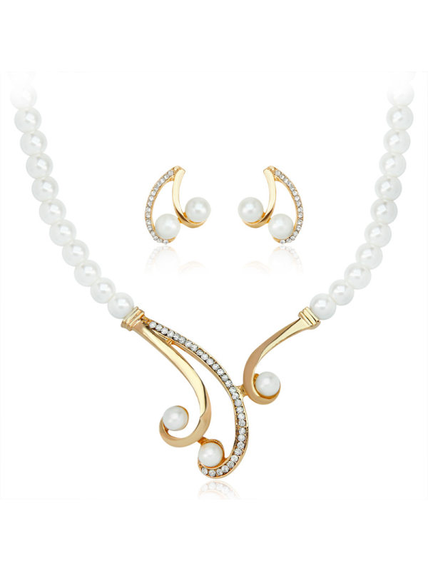 Pearl Necklace Earring Set Deep V Clavicle S Shape Pearl Necklace