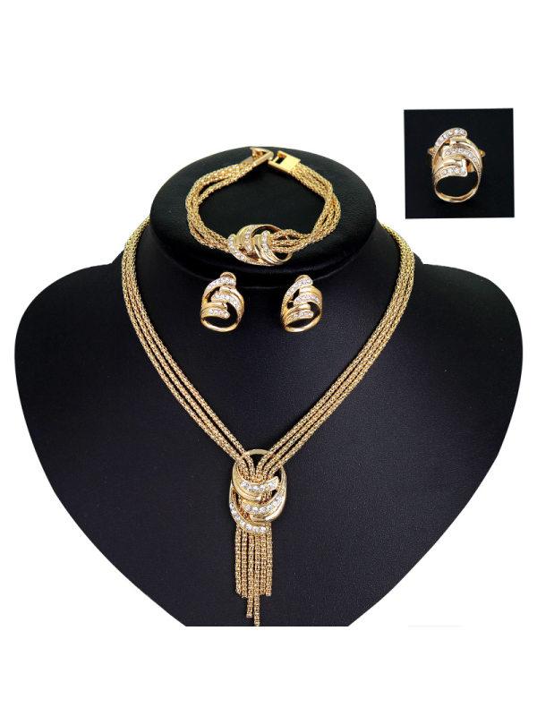 Necklace Bracelet Earring Ring Wedding Bridal Jewelry Set Four Piece Set