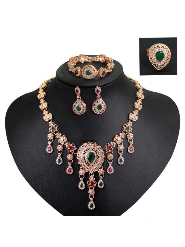 Four-piece high-end temperament rhinestone gemstone necklace jewelry set