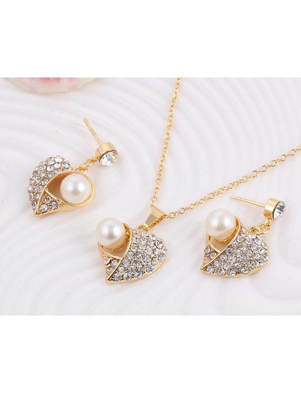 Full diamond peach heart pearl earrings necklace jewelry set