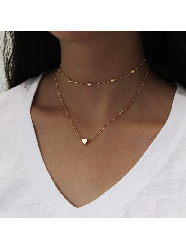 Copper Peach Heart Multilayer Clavicle Necklace