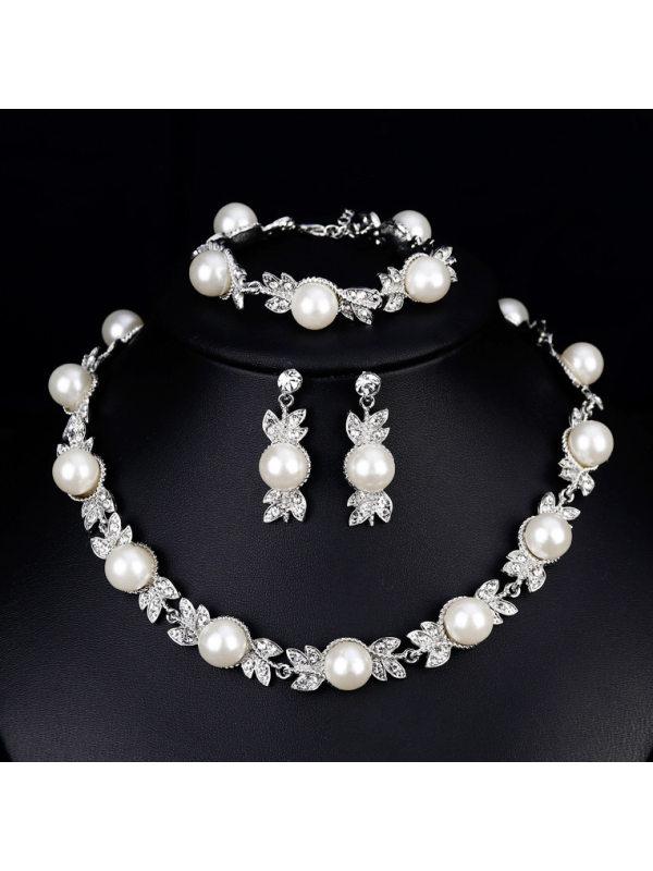 Fashion Korean version of rhinestone pearl necklace earrings bracelet wedding three-piece set
