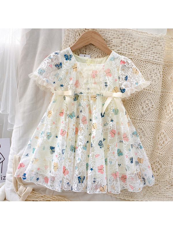 【18M-7Y】Sweet Round Neck Short Sleeve Butterfly Print Lace Dress-33100