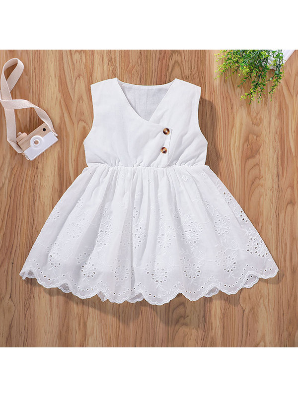 【12M-7Y】Girls Casual Sleeveless Solid Color Vest Dress